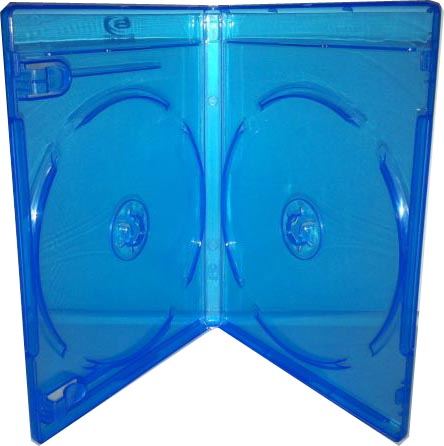 Blu-Ray Case - Light Blue Double 12mm With Clips from Am-Dig