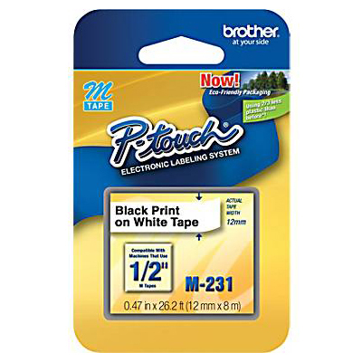 Brother M231: Label Tape, White, 0.50 ft x 26.2 ft from Am-Dig