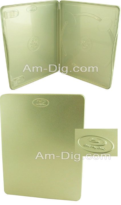 Tin Blu Ray/CD/DVD Case with Logo Two Disc Holder from Am-Dig