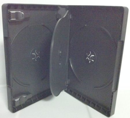 DVD Case - Black Quad 27mm With Flip Tray & Clips from Am-Dig