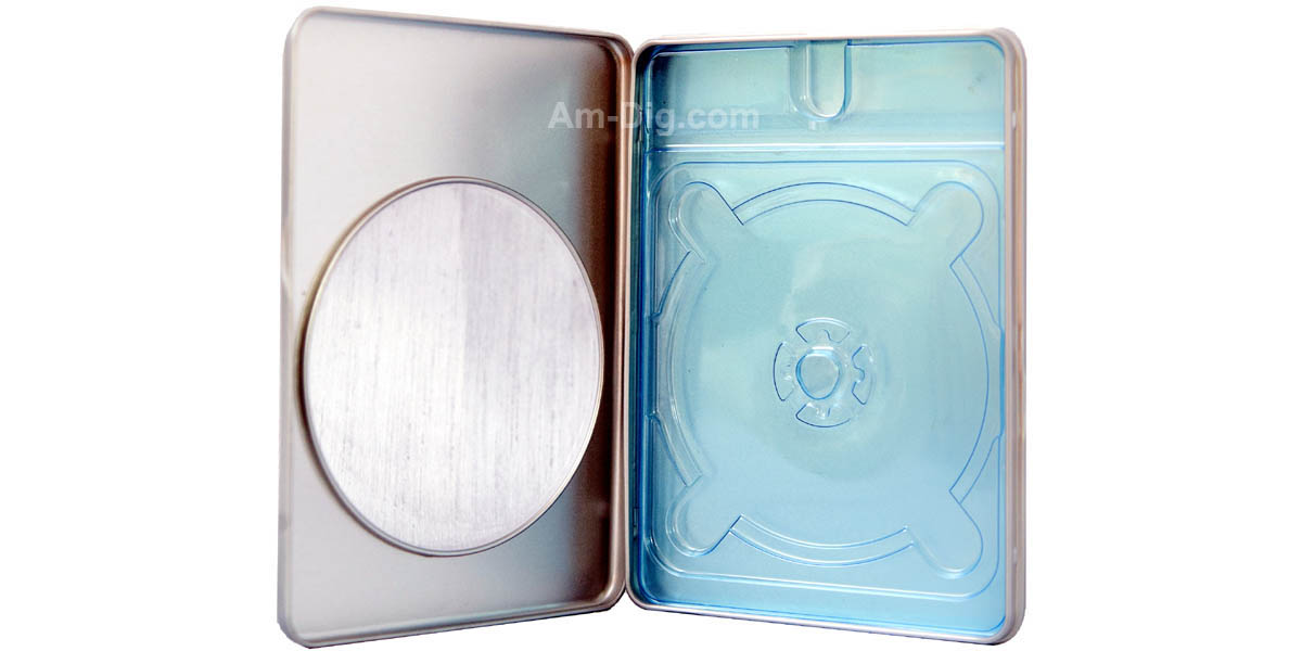 Tin DVD/CD Case Rectangular with Window Blue Tray - Open View