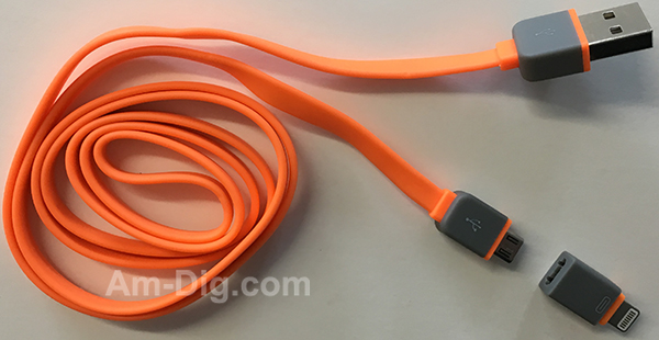 Earldom WZNB-21: 2 in 1 iPhone & Micro USB- Orange from Am-Dig