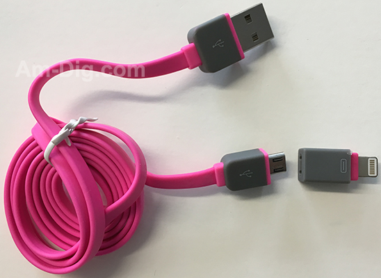 Earldom WZNB-21: 2 in 1 iPhone & Micro USB - Pink from Am-Dig