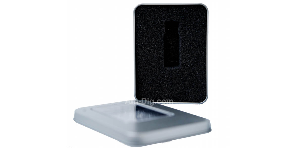 Tin Flash/USB Drive Case  - With Window No Hinge - Open View