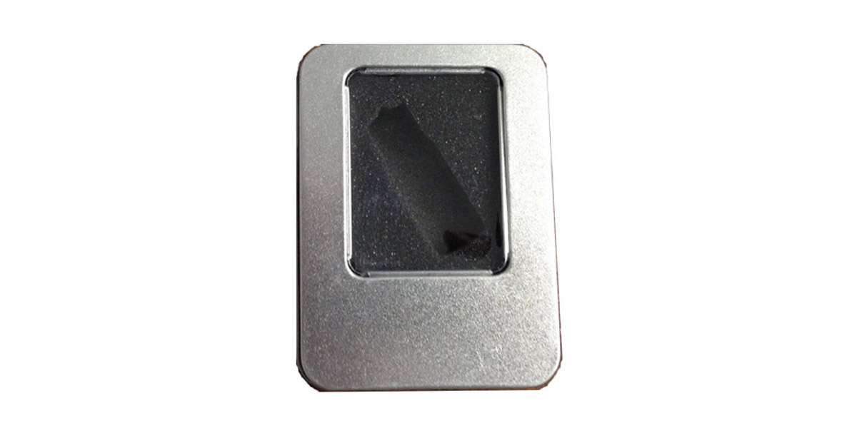 Tin Flash/USB Drive Case  - With Window No Hinge - Front View