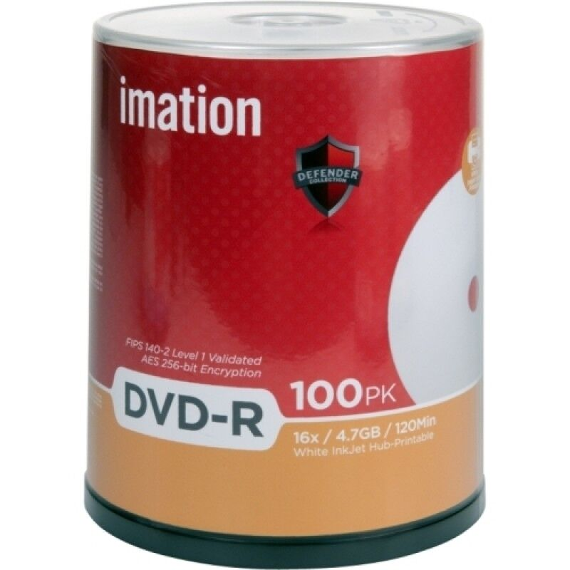 Imation 29909 DVD-R 4.7GB 16X White Thermal Hub Printab