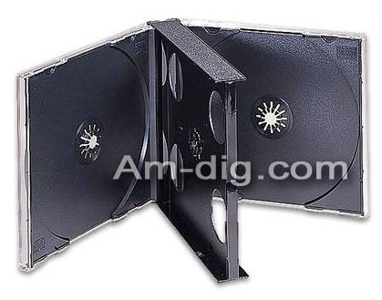 CD Jewel Case - Black 4 Disc Holder - Unassembled from Am-Dig
