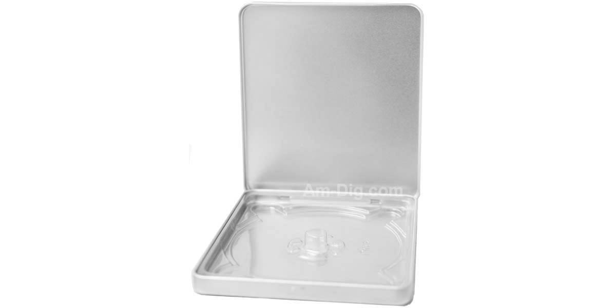Images of the Tin CD/DVD Case Square Style No Window Clear Tray