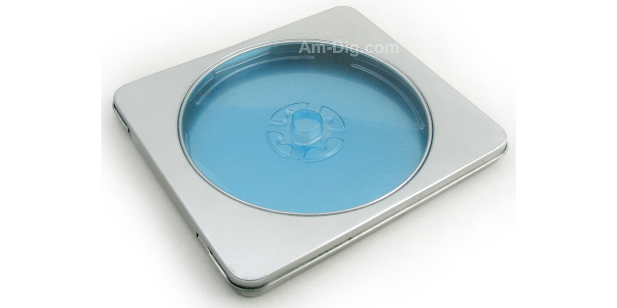 Tin CD/DVD Case Square Style with Window Blue Tray - Front View
