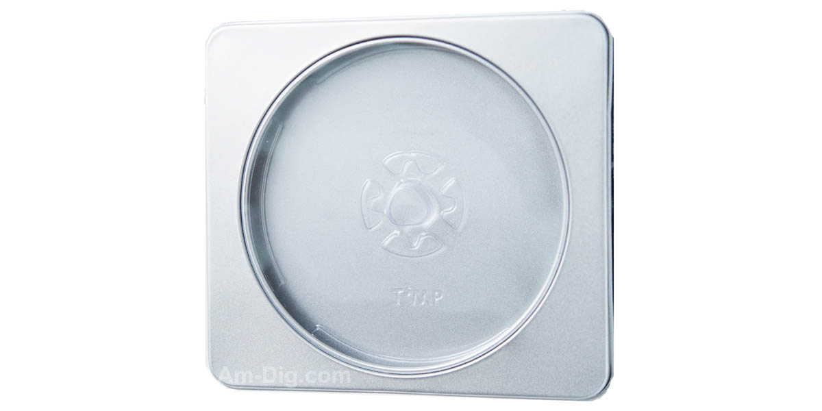 Tin CD/DVD Case Square Style w/ Window Clear Tray - Front View