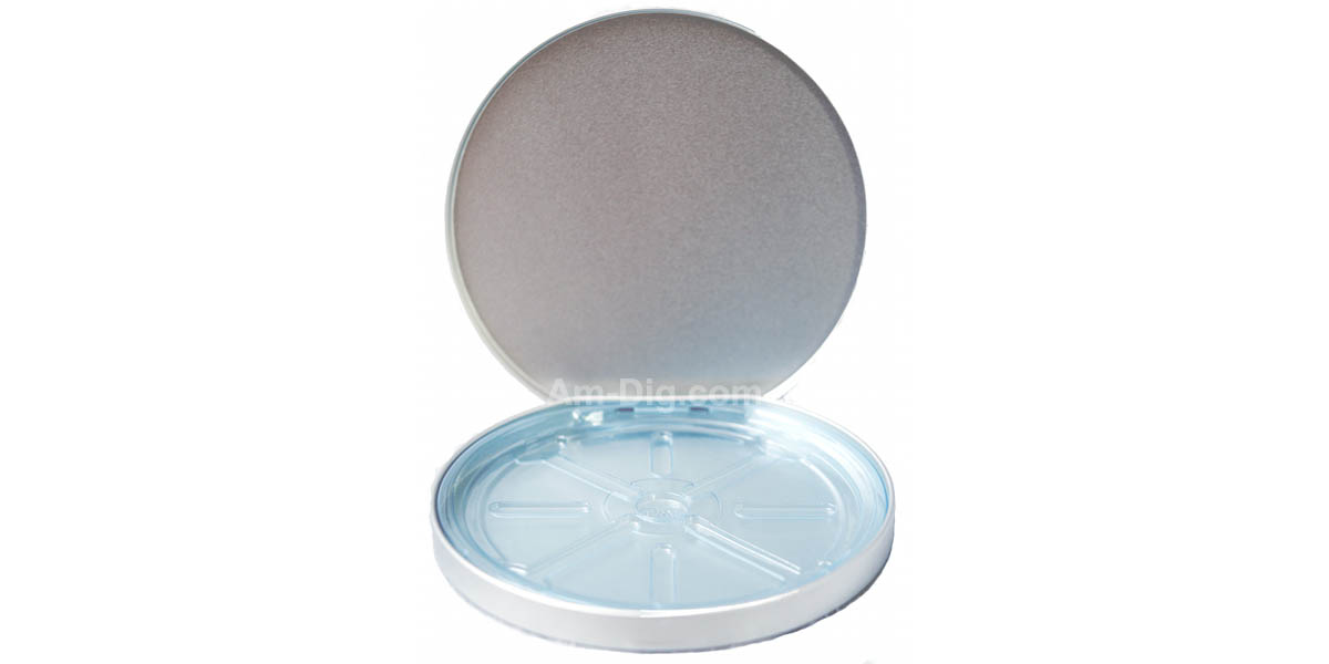 Images of the Tin CD/DVD Case Round D-Shape no Window Blue Tray