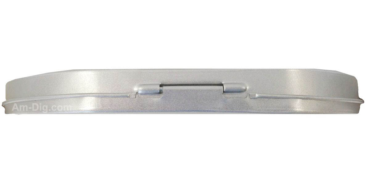 Tin CD/DVD Case Round D-Shape no Window Clear Tray - Side View