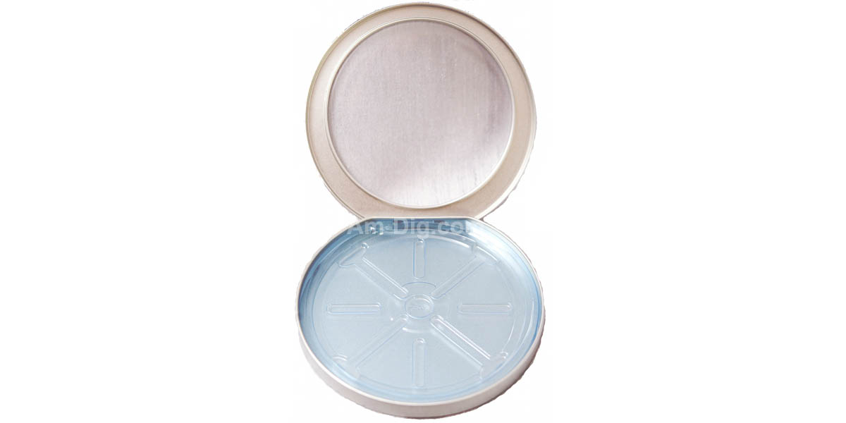 Tin CD/DVD Case Round D-Shape w/ Window Blue Tray - Open View