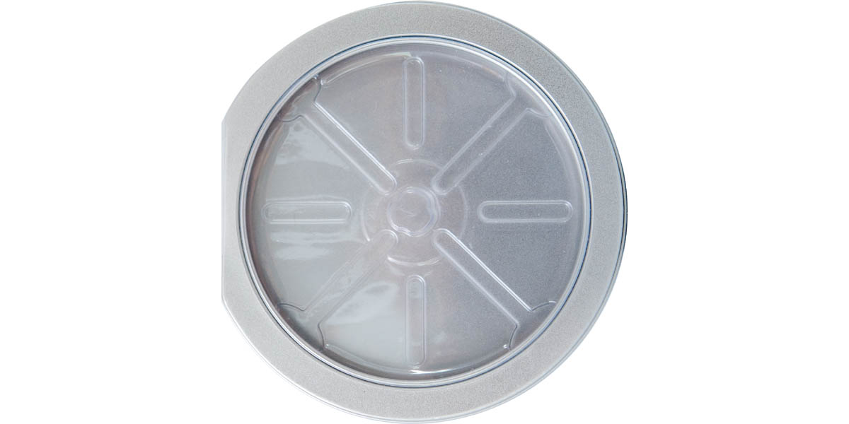 Tin CD/DVD Case Round D-Shape w/ Window Clear Tray - Front View
