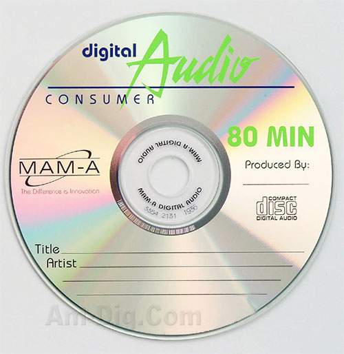 MAM-A 11121: CD-R DA-80 Logo Top Surface 50-Stack from Am-Dig