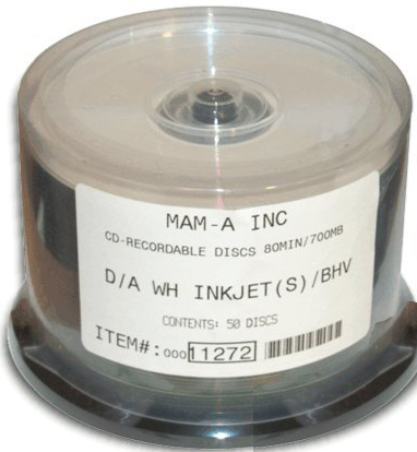 MAM-A 11272: CD-R DA-80 White InkJet Printable Top from Am-Dig