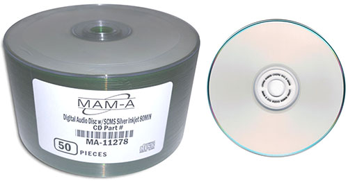 MAM-A 11278: CD-R DA-80 Silver InkJet Printable from Am-Dig