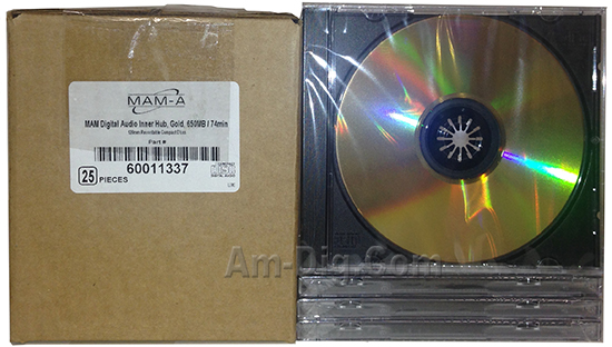 MAM-A 11337: GOLD CD-R DA-74 No Logo Jewel Case from Am-Dig