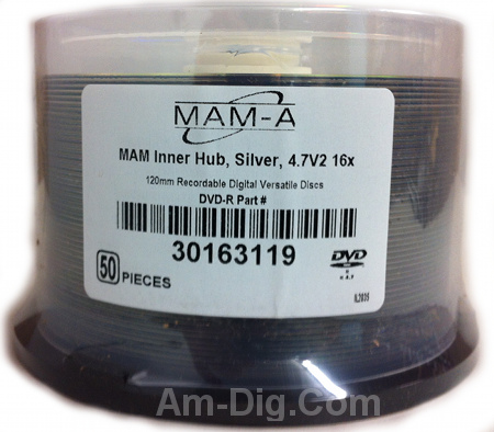 MAM-A 163119: DVD-R 4.7GB No Logo Top in Cakebox from Am-Dig