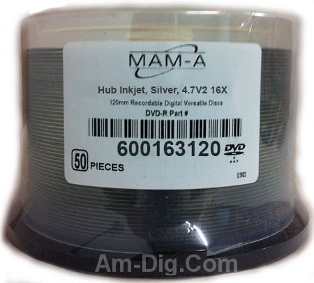 MAM-A 163120: DVD-R 4.7GB Silver InkJet Printable from Am-Dig