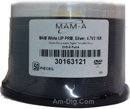 MAM-A 163121: DVD-R 4.7GB White InkJet Printable from Am-Dig