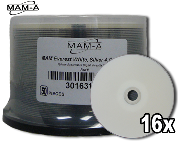 MAM-A 163138: DVD-R 4.7GB White Everest 50-Cakebox from Am-Dig