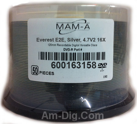 MAM-A 163158: DVD-R 4.7GB Silver Everest Cakebox from Am-Dig