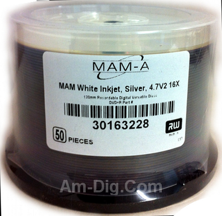 MAM-A 163228: DVD+R 4.7GB InkJet White Printable from Am-Dig