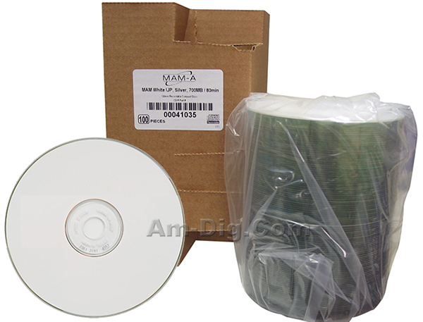 MAM-A 41035: CD-R 700MB White InkJet 100-Stack from Am-Dig