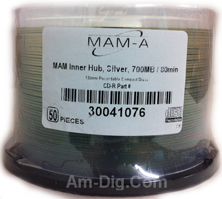 MAM-A 41076: CD-R 700MB No Logo Clear in Cakebox from Am-Dig