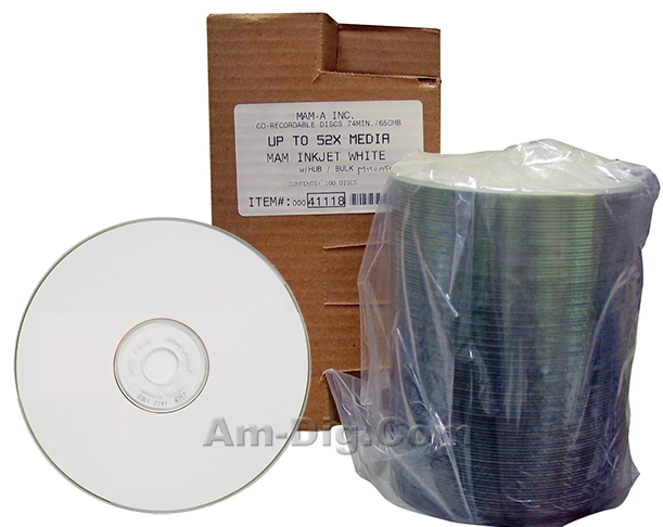 MAM-A 41118: CD-R 650MB White InkJet in 100-Stack from Am-Dig