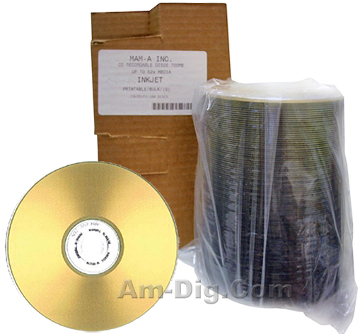 MAM-A 41141: GOLD CD-R 650MB Gold InkJet Stack from Am-Dig