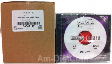 MAM-A 41142: CD-R 650MB White InkJet in Jewel Case from Am-Dig