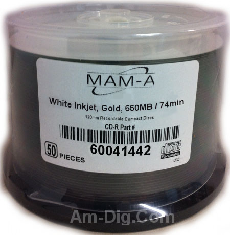 MAM-A 41442: GOLD CD-R 650MB White InkJet Print from Am-Dig