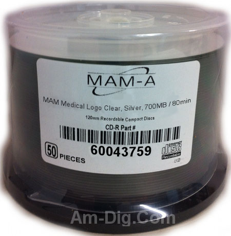 MAM-A 43759: Medical CD-R 700MB No Logo 50-Cakebox from Am-Dig