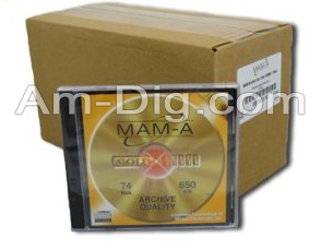 MAM-A 45110: GOLD CD-R 650MB No Logo Matte in Case from Am-Dig