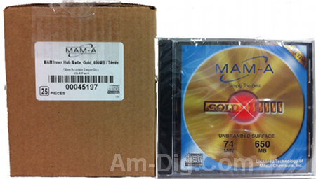 MAM-A 45197: GOLD CD-R 650MB No Logo Matte in Case from Am-Dig