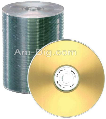 MAM-A 45612: GOLD CD-R 700MB No Logo Matte Stack from Am-Dig