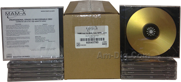 MAM-A 45780: GOLD CD-R 700MB No Logo Matte in Case from Am-Dig