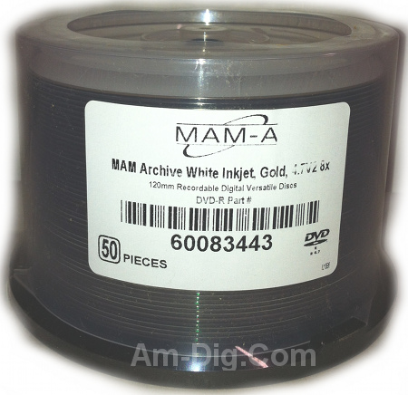 MAM-A 83443 GOLD DVD-R 4.7GB Archival White InkJet from Am-Dig