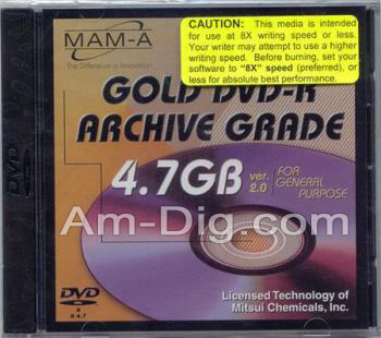 MAM-A 83481: GOLD DVD-R 4.7GB Archival No Logo from Am-Dig