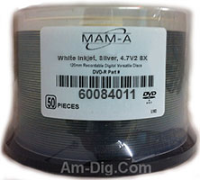 MAM-A 84011 DVD+R 8.5GB White InkJet Hub Printable from Am-Dig