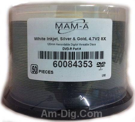 MAM-A 84353: DVD-R 4.7GB White Inkjet HubPrint S&G from Am-Dig