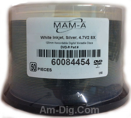 MAM-A 84454: DVD+R/DL 8.5GB White Inkjet Hub Print from Am-Dig