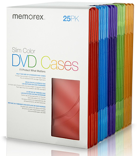 Memorex 25-Pack Slim Color 7MM-Cases from Am-Dig