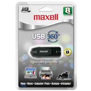 Maxell 503202: USB-2 Flash Drive 8GB p/w Protected from Am-Dig