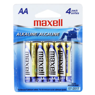 Maxell Alkaline Batteries AA, Cell LR6 4BP, 4PK from Am-Dig