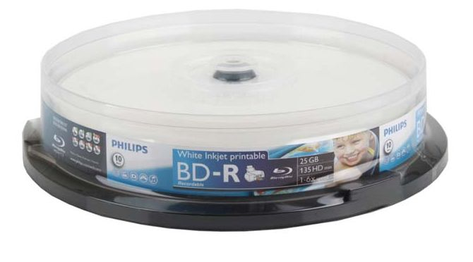 Philips BD-R 25GB 6x White InkJet HubPrint in Cake from Am-Dig
