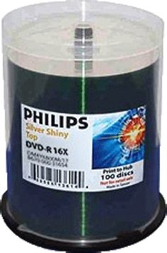 Philips DM4O6B00M/17 DVD-R 16x Silver Inkjet Print from Am-Dig