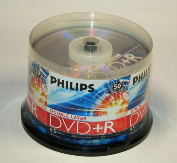 Philips DR8S8B50F/17 DVD+R Dual Layer 50-Cakebox   from Am-Dig